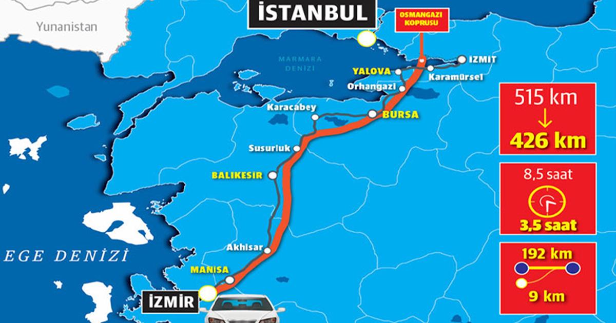 İstanbul – Çeşme Arası Artık 4.5 Saat